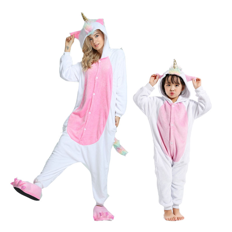 Flannel Animal unicorn panda onesie pajamas women's warm pajamas family matching outfits family matching mother daughter pajamas christmas rainbow unicorn animal family onesie pajamas