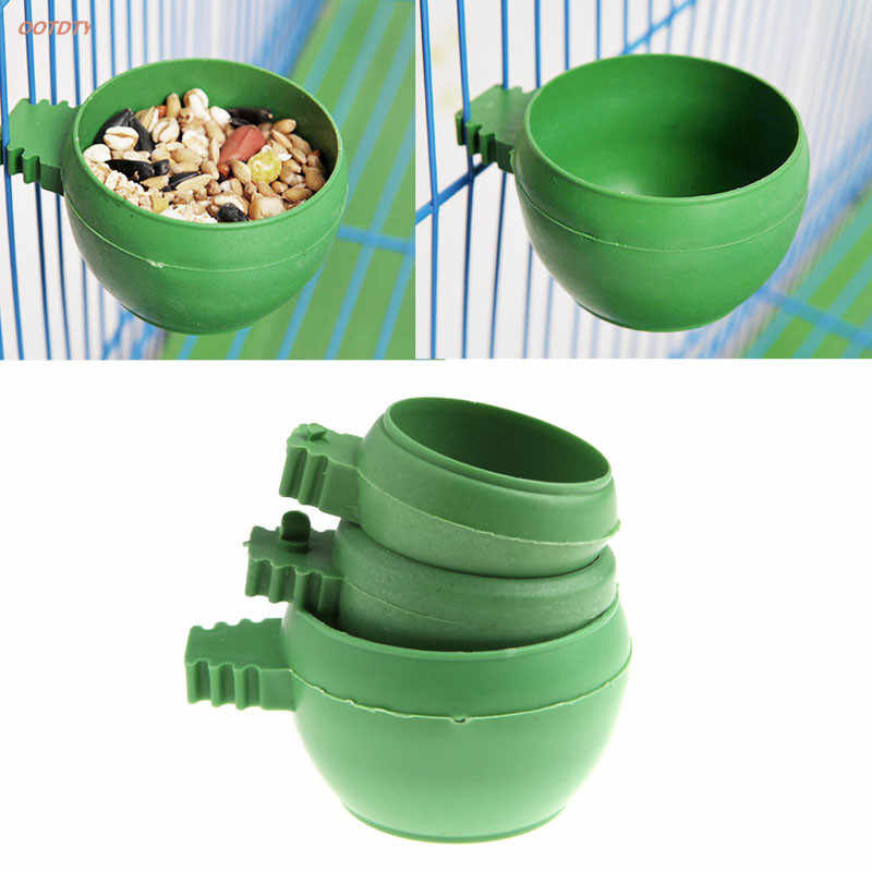 OOTDTY Mini Parrot Food Water Bowl Feeder Plastic Pigeons Birds Cage Sand Cup Feeding