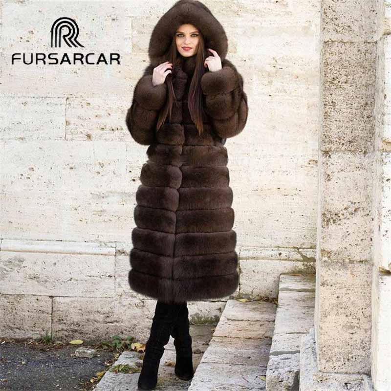 FURSARCAR Winter Natural Real Fox Fur Coat Women With Fur Hood 2018 New Fox Fur 100 CM Long Thick Warm Women Fur Coat