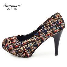 9e60df5fd Fanyuan/2018 г. Новинка красивый элегантный Высокий каблук Женская обувь на  платформе Новинка разноцветные