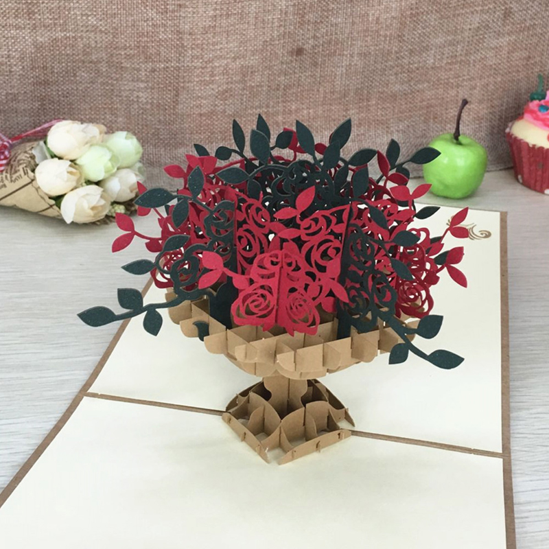 1pcs Vintage Treasure Bowl Laser Cut Kirigami 3D Pop UP Felicitări și cadouri cadou Handmade Creative Thank You Carduri Ziua Profesorilor