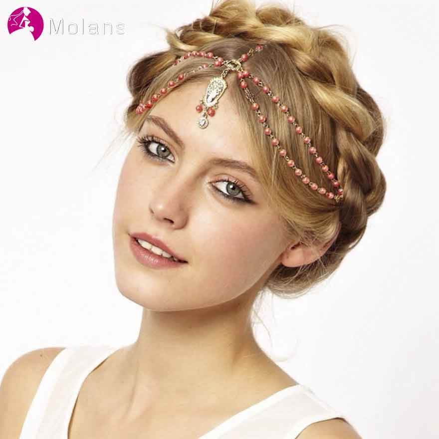 MOLANS Pearl Tassels Pentacle Beading Hair Chain For Women Hair Accessories Handmade Alloy Natural Stone Moon Hairband For Party