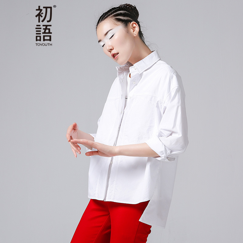 Toyouth New Arrival Women Casual Cotton Solid Blouses Shirts Autumn Fashion Button Turn Down Collar Shirts