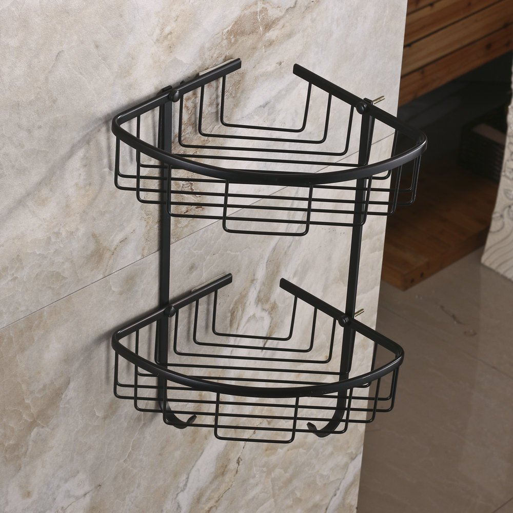 wall mounted brass double tiers corner shower caddies cosmetics organizer rack oil rubbed bronze