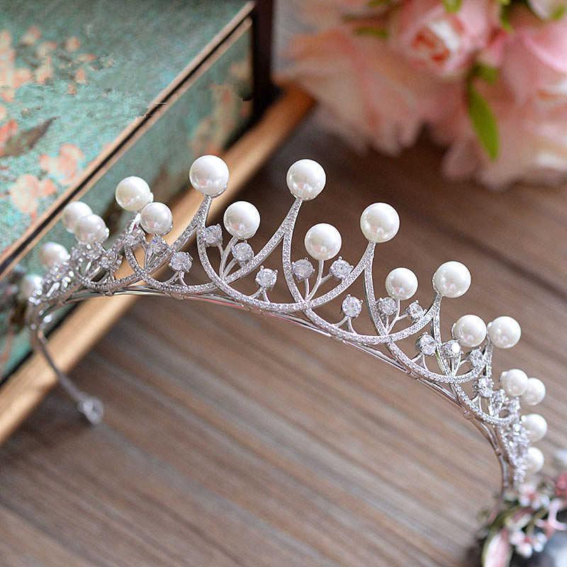 Полностью циркониевая Корона CZ Корона Свадебный ободок аксессуары для волос диадема украшения для волос тиары и короны Diadema Coroa Noiva WIGO0888