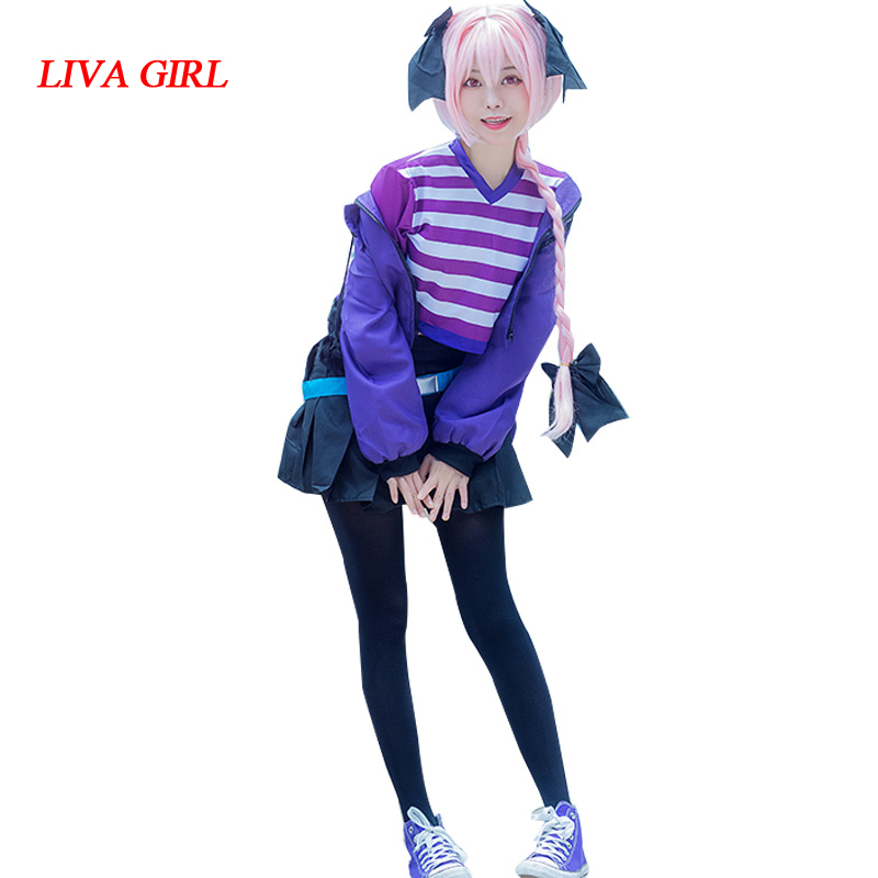 Liva girl Fate Apocrypha Astolfo Cosplay Costumes Women Purple Jacket Spring Coat t-shirt skirt socks For Halloween Party