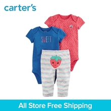 3pcs sweet strawberry bodysuits pants clothing Sets Carter's baby Girl Spring & Summer polka dots stripes Cotton 126H327