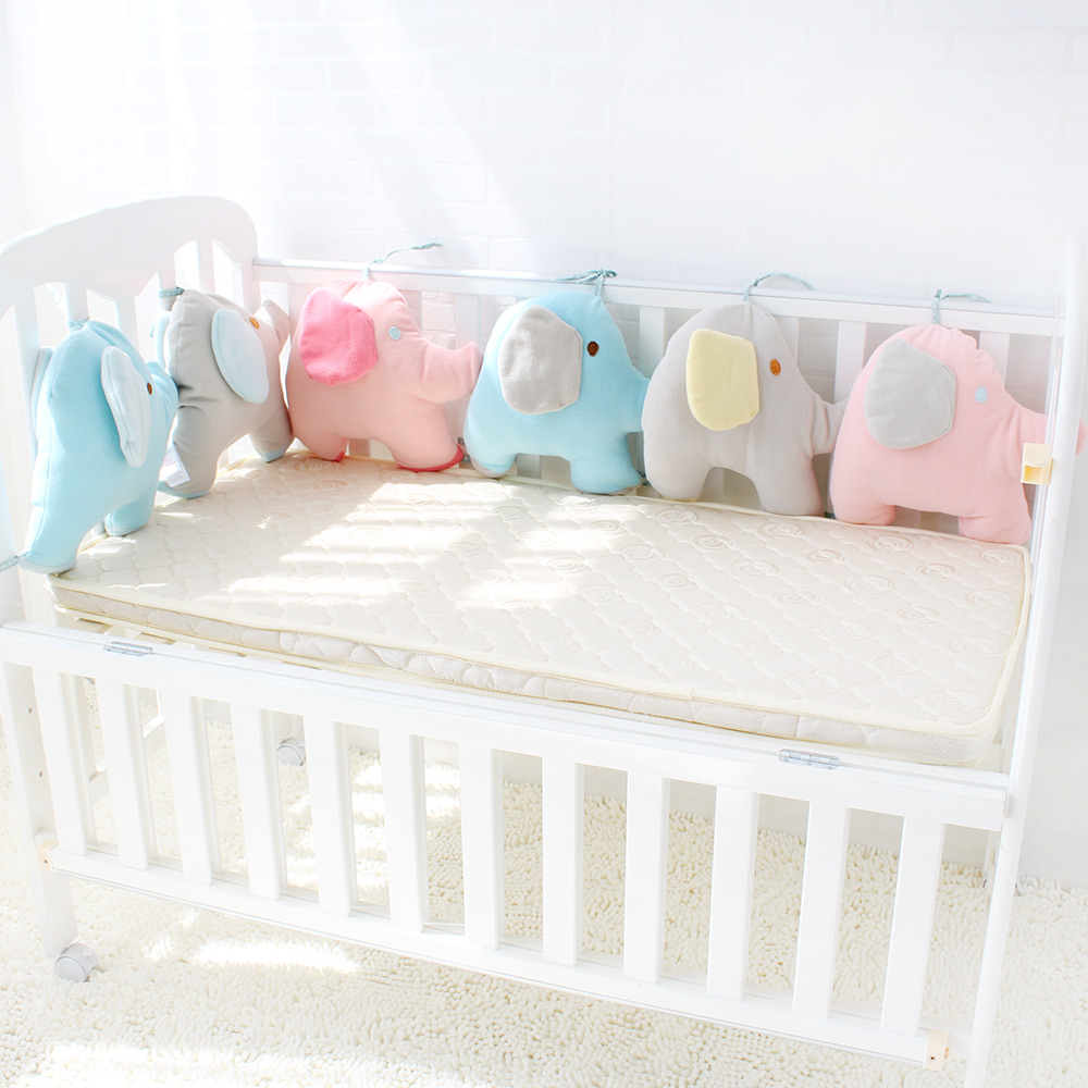 Baby Bed Bumper For Newborns Elephant Crib Bumper Infant Cot Crotch Soft Thick Baby Crib Protector Total 6 Pieces Size 180*35cm soft infant crib bed stroller toy spiral baby toys for newborns car seat hanging bebe bell educational rattle toy for gift