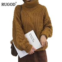 RUGOD Turtleneck Lantern Sleeve Women Sweaters And Pullovers Thick Knitted Women Jumper Winter Warm Solid Pull