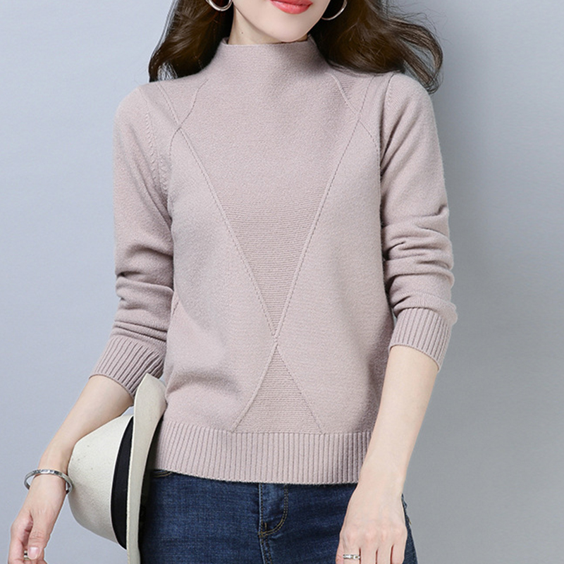 Wool Soft Elastic Sweaters and Pullovers Half Turtleneck Long Sleeve Autumn Winter Women Cashmere Sweater Female