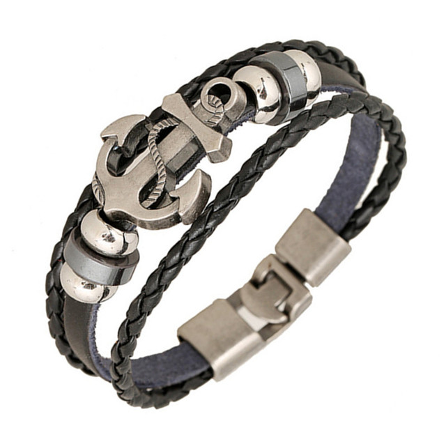 Vintage Style Alloy Matched with Genuine Leather Braided Bangle and Vintage Beaded Bracelet