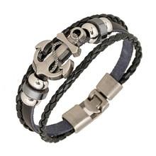 Fashion Jewelry anchor Alloy Leather Bracelet Men Casual personality PU Woven Beaded Bracelet Vintage Punk Bracelet Women 0452