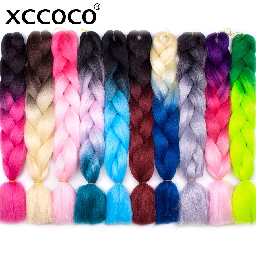 XCCOCO Hair Crochet Braids Ombre Kanekalon Braiding Hair 24 Inch 100G Ombre Color Jumbo Braids Synthetic Hair For Braid ...