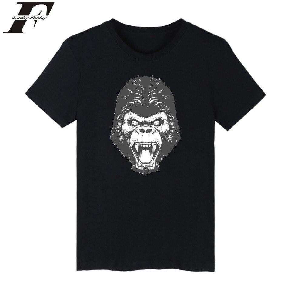 LUCKYFRIDAYF Funny Gorilla Short Sleeve T font b shirt b font Homme Tops O Neck Summer