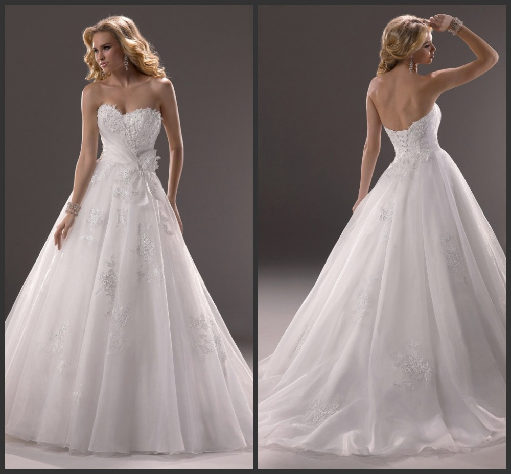 Wedding Ball Gowns 2014: 2014 Lastest Sweetheart Lace And Organza Ball Gown Wedding