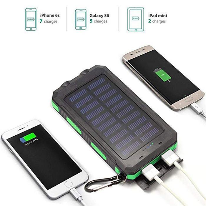 Водонепроницаемый Банк солнечной энергии для iPhone Двойной USB портативный повербанк с компасом двойной светодиодный фонарик 6000 mAh внешний аккумулятор
