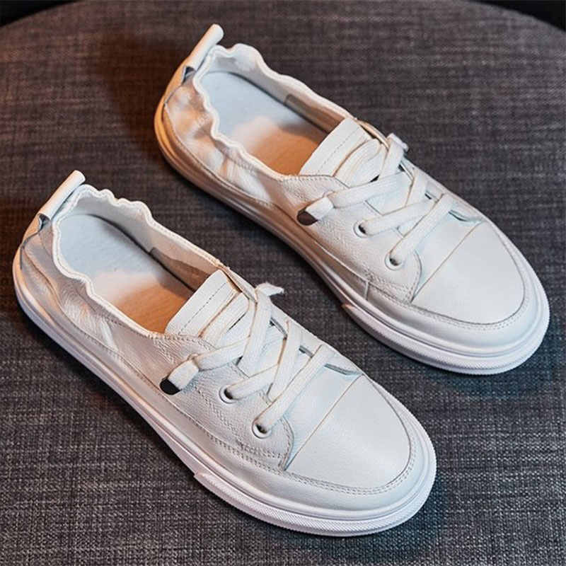 Nieuwe Vrouwen Casual Witte Platte Schoenen Zacht Leer Comfortabele Lace Up Flats Gevulkaniseerd Schoenen Vrouwelijke Effen Platform Modeschoenen