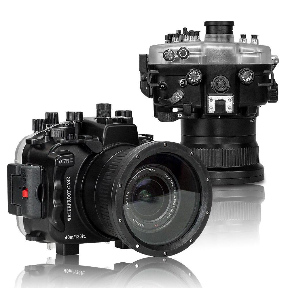 Boîtier de caméra étanche de 40 m/130ft pour Sony A7 III A7R III A7M3 avec SL-108