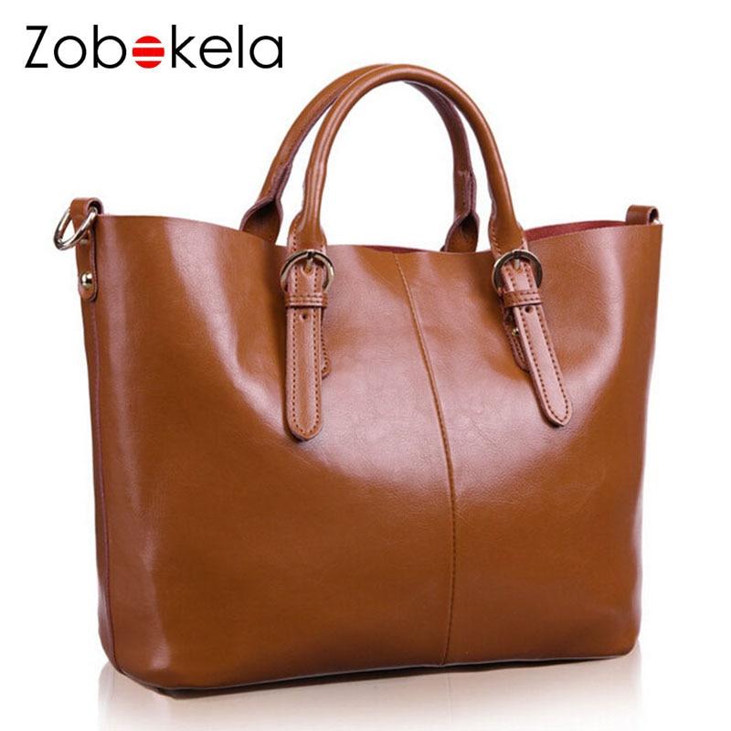 ZOBOKELA Genuine Leather Bag Women 2018 Shoulder Bag Famous Designer Women Messenger Bags For Women Handbag
