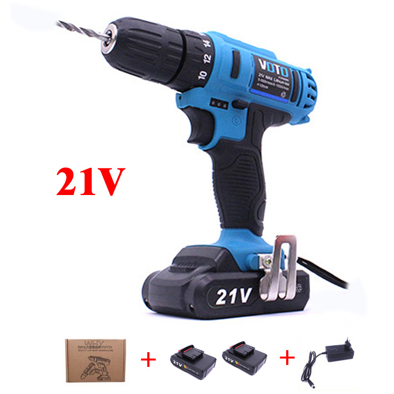 2-Speed 21V Cordless Drill Electric Screwdriver Set Lithium-Ion Battery Power Rotary Tools Rechargeable With 2*Battery Screw Gun ac 100 240v 21v plus cordless electric screwdriver rechargeable power drills tools lithium ion battery electrical hand drill set