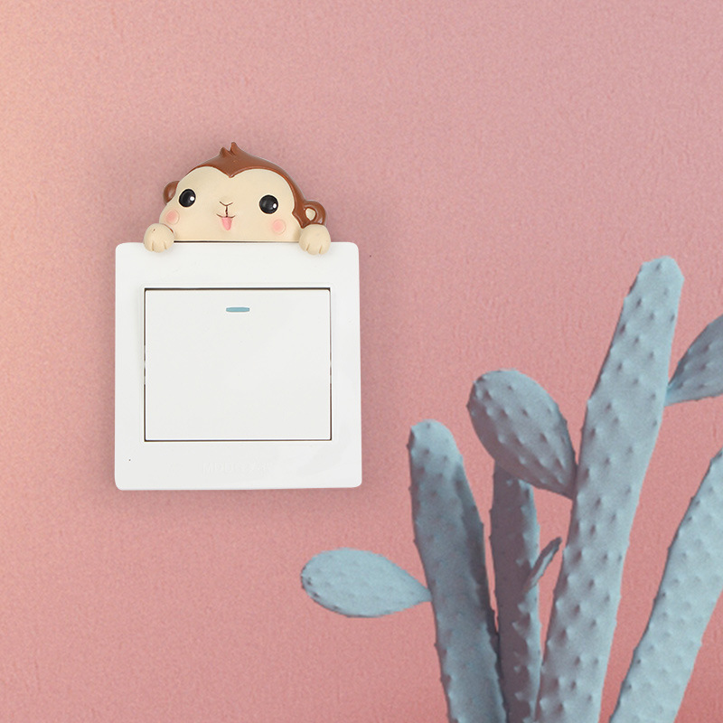 Interruptor de Luz Interruptor de Parede Conjunto de 6 Pcs Figurine Animal Etiqueta Home da Parede Decalques Decor Hanging Ornamento da Resina