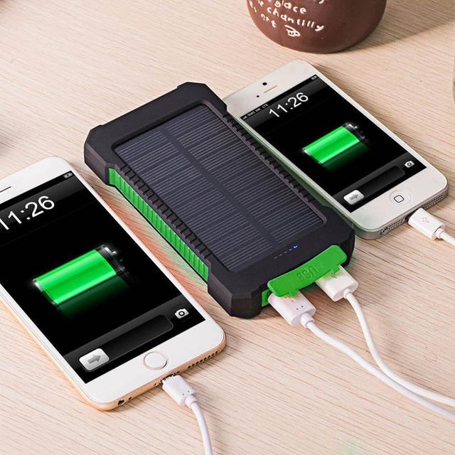 DCAE Solar Li-polímero Banco de la Energía 10000 mah Dual USB powerbank Cargador de Batería Solar con Linterna LED Brújula para todos los teléfonos