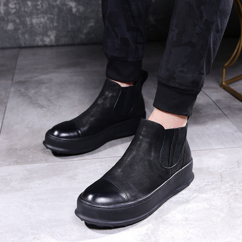 Autumn Winter new Fur Ankle Chelsea Boots Men Shoes Male Business Casual Genuine Leather Quality Slip On Cowhide Boot Man цена 2017