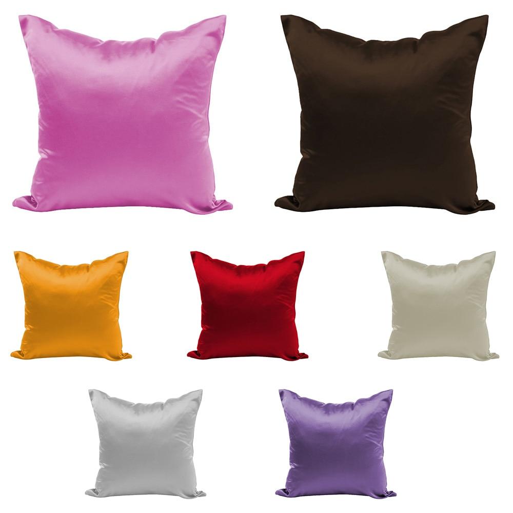 Hot 7Colors Satin Silk Soft Pillowcase Chair Seat Cushion  Pillowcase 50 X 50cm  Chair Seat Square Pillow Home