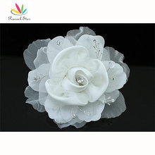 Venta al por mayor dama de honor novia de la boda Fascinator Light Ivory pelo hechos a mano de la flor CT1569