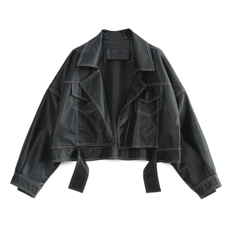 2019   Leather   Jacket Women Black Motorcycle Open Line Decoration PU   Leather   Coat Short PU Biker Jacket AS7717