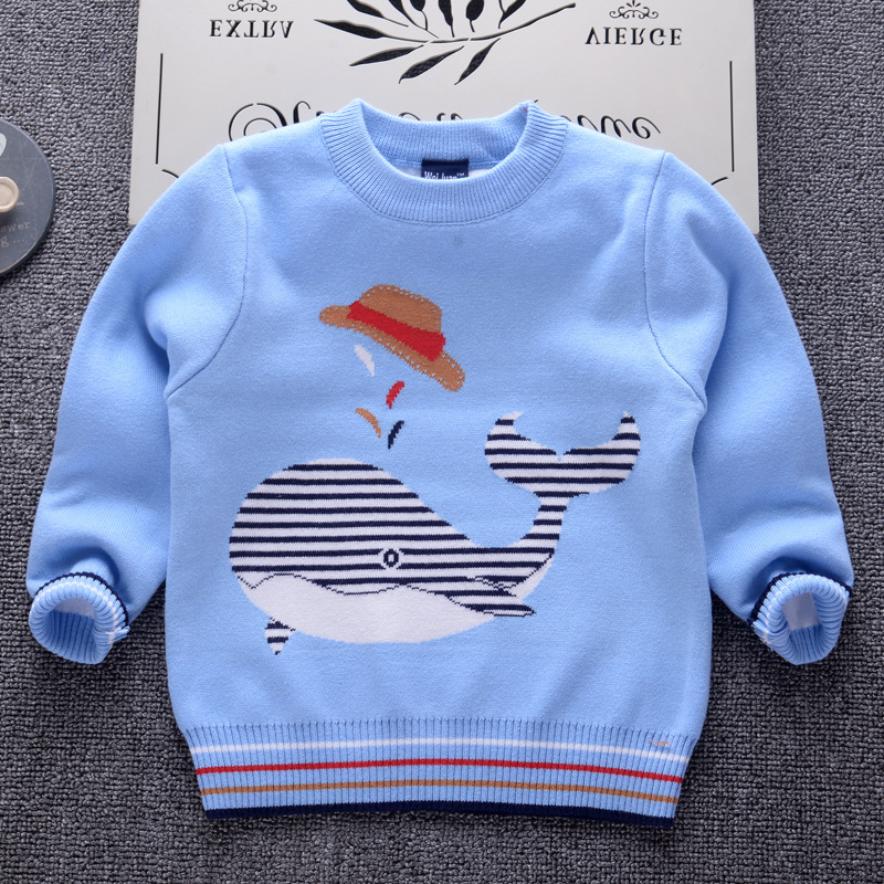 acc4a9dc4 2019 Autumn Winter Boys Sweaters striped Thicken Baby Pullover Knit ...
