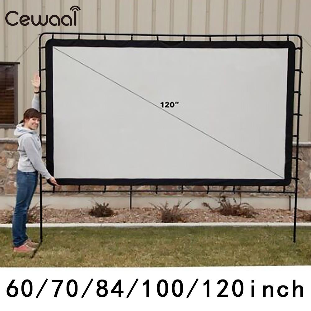 Projection Curtain White Portable Courtyard Projector Curtain Foldable Church Movie Screen Projection Screen Soft 120 Inch