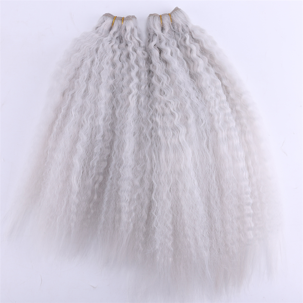 Color Grey 2 Pieces/lot Kinky Straight Hair Weaving High Temperature Synthetic Hair Bundles