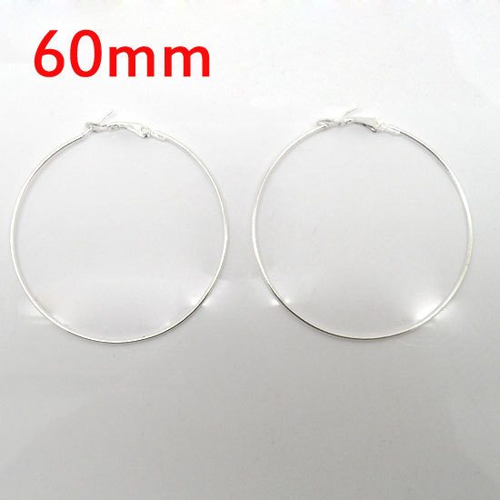 wholesale 20 Pcs Silver Plated Basketball Wives Earring Hoops Dangle Drop 60mm Dia.(W01610 )