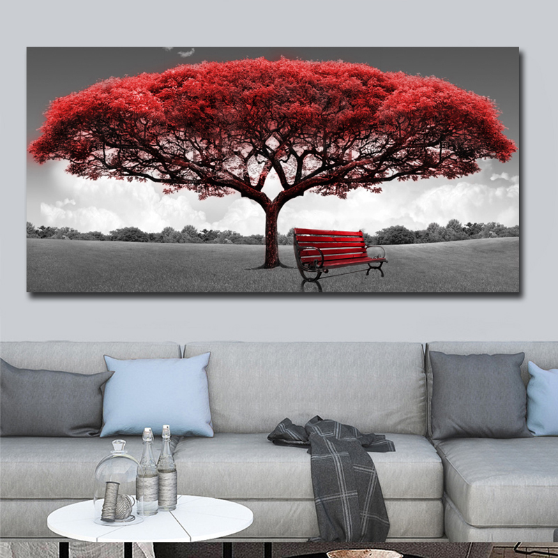 60x120cm Modern Red Money Tree Wall Art Canvas Posters Prints Unframed Wall Pictures For Office Living Room Home Decor Artwork