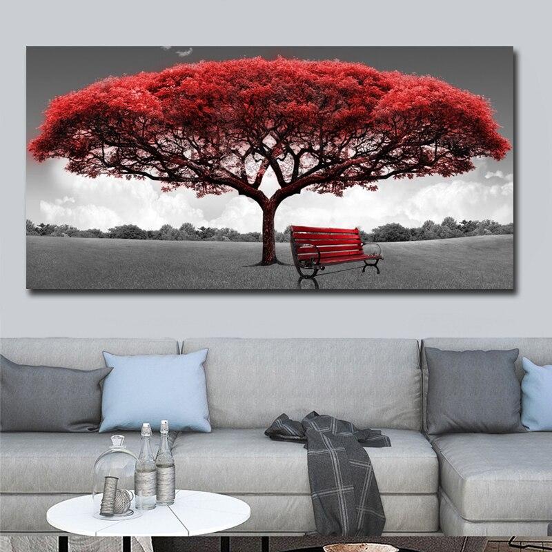 60x120cm Moderne Rot Geld Baum Wand Kunst Leinwand Poster Drucke unframed Wand Bilder Für Büro Wohnzimmer home Decor Kunstwerk