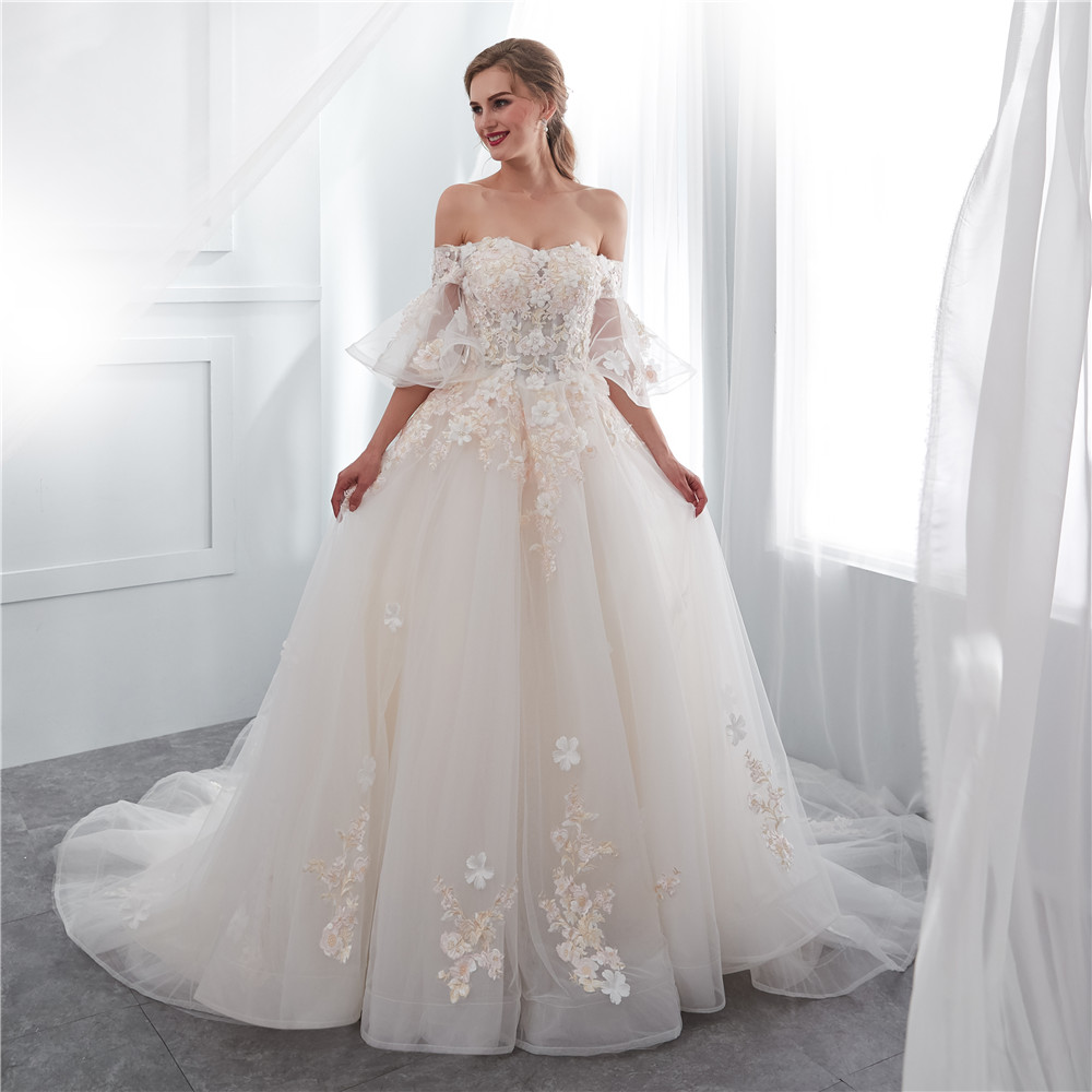 H&S Bridal Ivory Wedding Dresses With Veil Off Shoulder 3d Flowers Tulle With Pearl Elegant Wedding Gown Summer 2019 Sweep Train