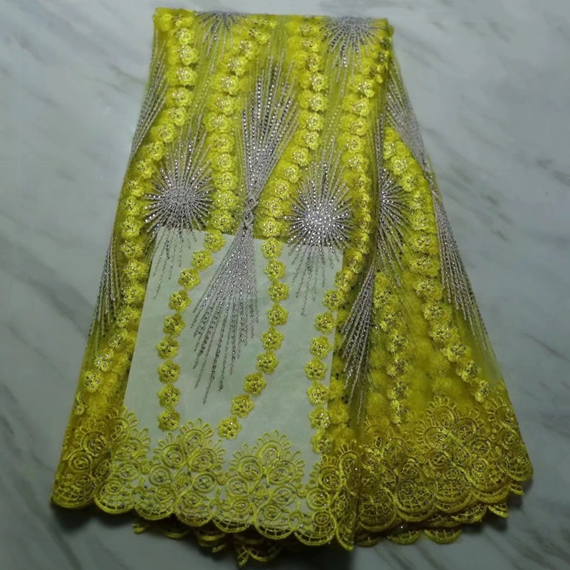 French lace fabric high quality african tulle lace with a lot stones for woman s party
