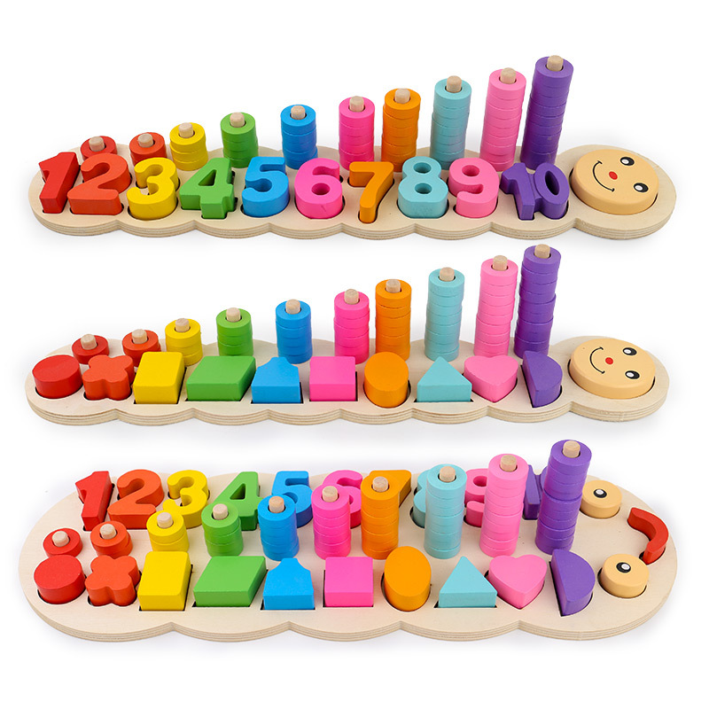 Wooden Digital Geometry Shape Pairing Blocks Toys Children Caterpillar Matching Color Cognition Block Boys Girls Education toy 13 holes baby color recognition intelligence toys bricks wooden shape sorter cube cognitive and matching blocks for children