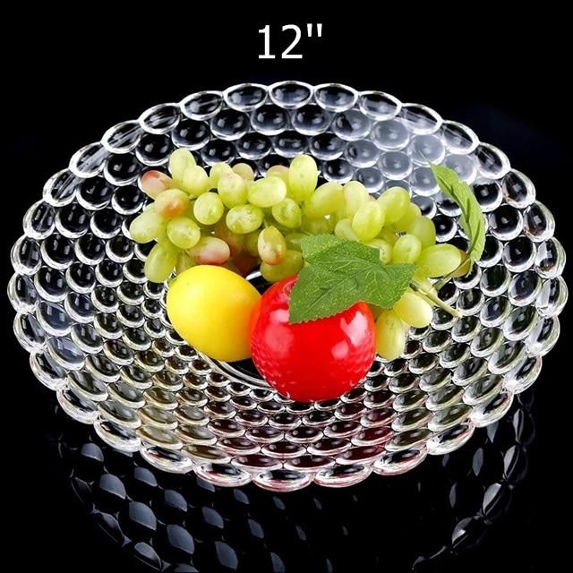 Plateau à gâteau rond en verre de 12 ''  Perles de secours, plateau de fruits décoratif, organisateur de bonbons, plateau de salon, vaisselle, verrerie de cuisine - 2