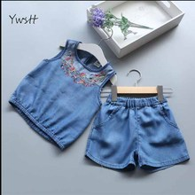 YWSTT Girls Demin Suit 2017 New Children Clothing Sets Demin Kids Clothes Flower Embroidery Girl Pullover Vest+Shorts 2Pcs Suit(China)