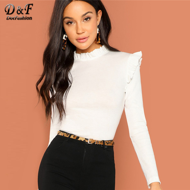 94e0d8cd53d Dotfashion White Frill Trim Solid Long Sleeve Tee Shirt Women Casual Autumn  Stand Collar Tops Slim