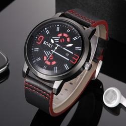 SOKI sleek minimalist men's watch S-1018-1 Couple Fashion Nylon strap Analog Quartz Round Wrist Watch Watches