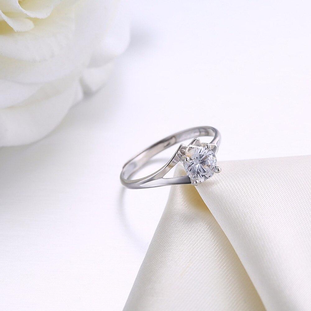Твердые 925 Серебряная свадьба обещание Обручение кольцо 0,7 ювелирной огранки R0055.