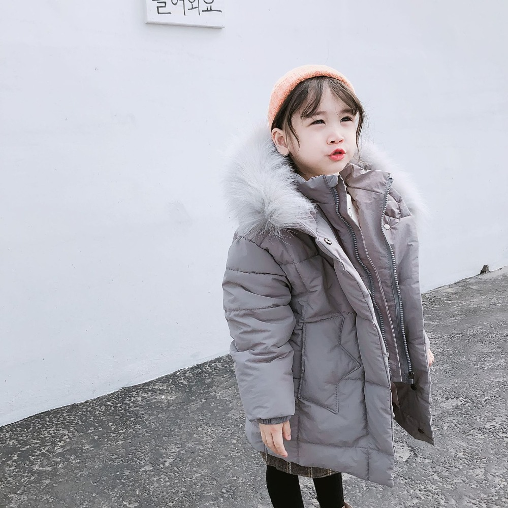 New Collection Winter Girl Jacket Large Fur Collar Thick Warm Parkas Fashion Children Girl Soild Color Cotton Padded Overcoats new winter fashion large fur collar cotton parkas thick women cotton padded jacket solid color zipper long sleeve wadded coats