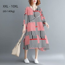 Plus Size 10XL 9XL Short Sleeve Summer Dress Female Elegant Black Red Striped Casual Clothing Oversized Beach Dresses For Women