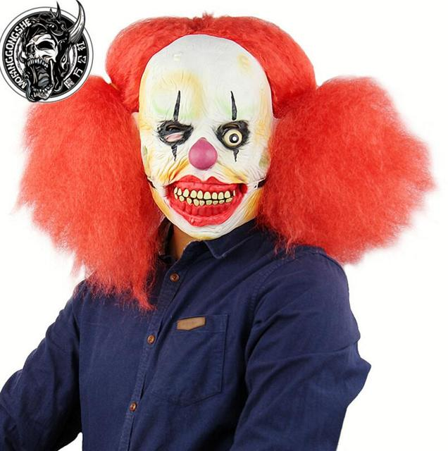 factory price halloween scary red hair clown mask jester joke face