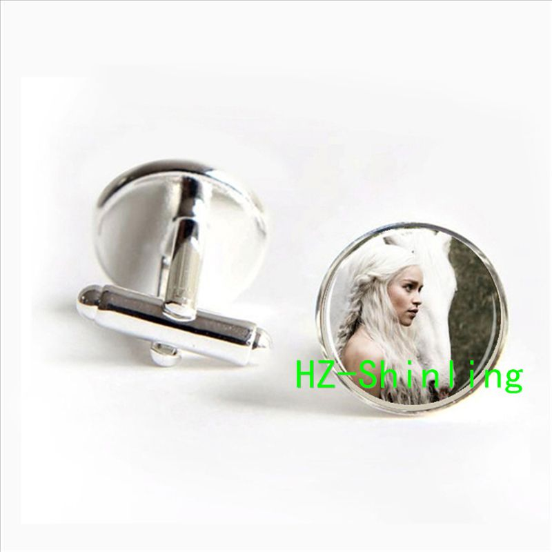 On sale Game of Thrones Daenerys cufflinks Khaleesi Horse Mother of Dragons Targaryen jewelry glass Cabochon cufflinks 2017