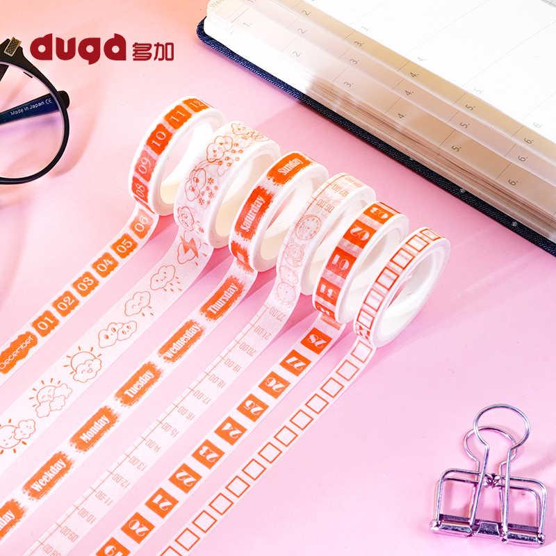 Creativo mes semana fecha calendario Washi cinta planificador Diy Scrapbooking etiqueta adhesiva cinta adhesiva material escolar papelería