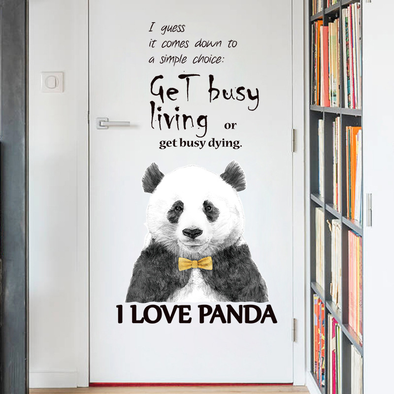 Cartoon Black Cute Animal Panda Door Wall Sticker for Kids Room Decoration Gentleman Wall Decals Home Decor Wall Paper Posters